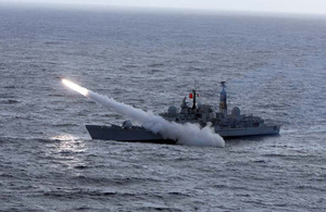 A Sea Dart missile races away from HMS EDINBURGH off the coast of the Outer Hebrides