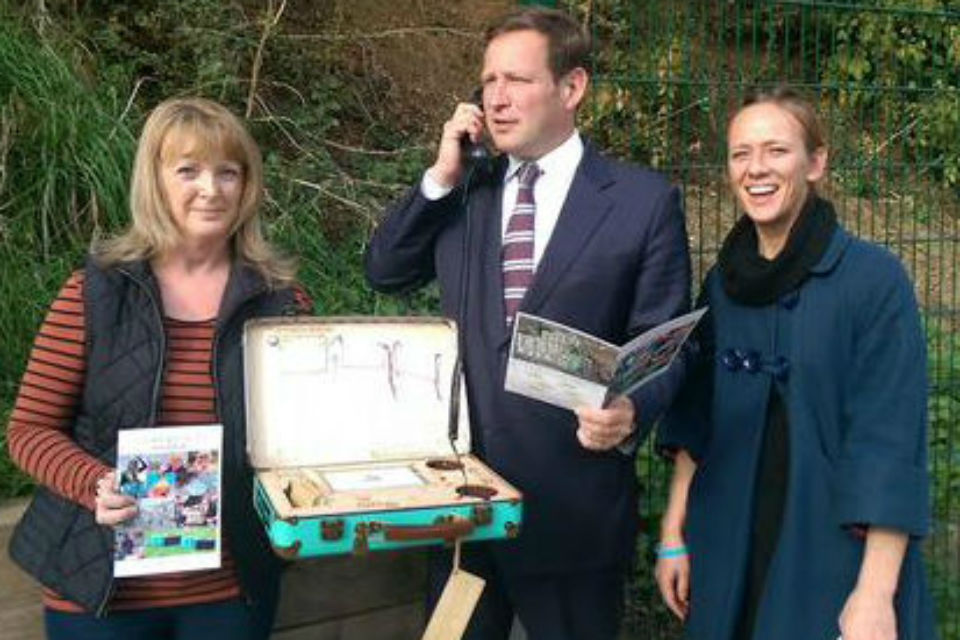 Digital Economy Minister Ed Vaizey with a digital suitcase