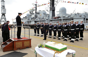 HMS Edinburgh's return to the fleet was marked with a rededication ceremony at Portsmouth Naval Base