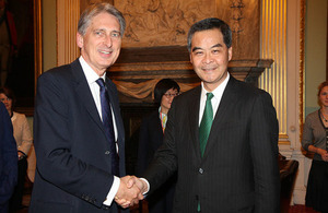 Foreign Secretary Philip Hammond with Hong Kong Chief Executive CY Leung