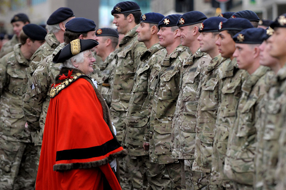 The Mayor of Barnsley, Councillor Dorothy Higginbottom, and the Commanding Officer of the Light Dragoons, Lieutenant Colonel Sam Plant, inspect the soldiers on parade