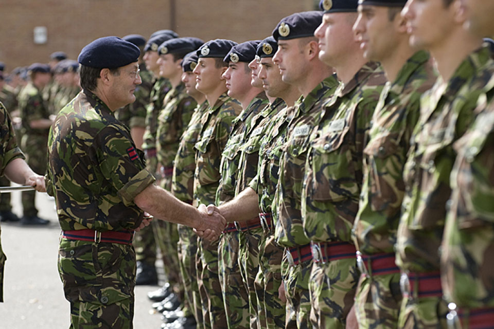 Soldiers from the Royal Engineers and Royal Logistic Corps being presented with the new Search badge by the Adjutant General, Lieutenant General Mark Mans