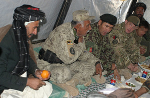 Lieutenant Colonel Colin Marks meets with Afghan officials