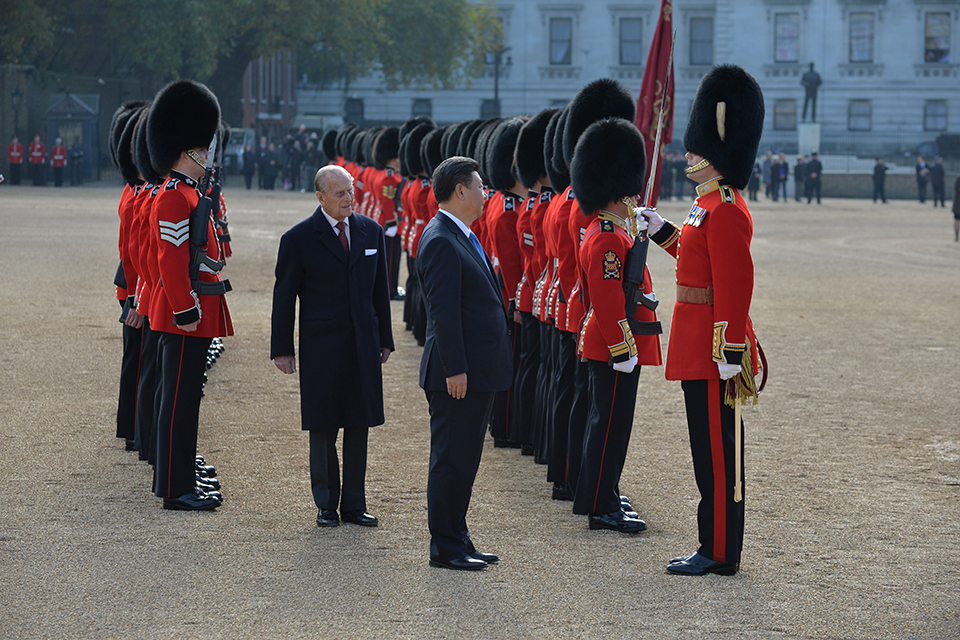 The President of the People's Republic of China inspects the Guard of Honour at Horse Guards Parade, along with His Royal Highness The Duke of Edinburgh
