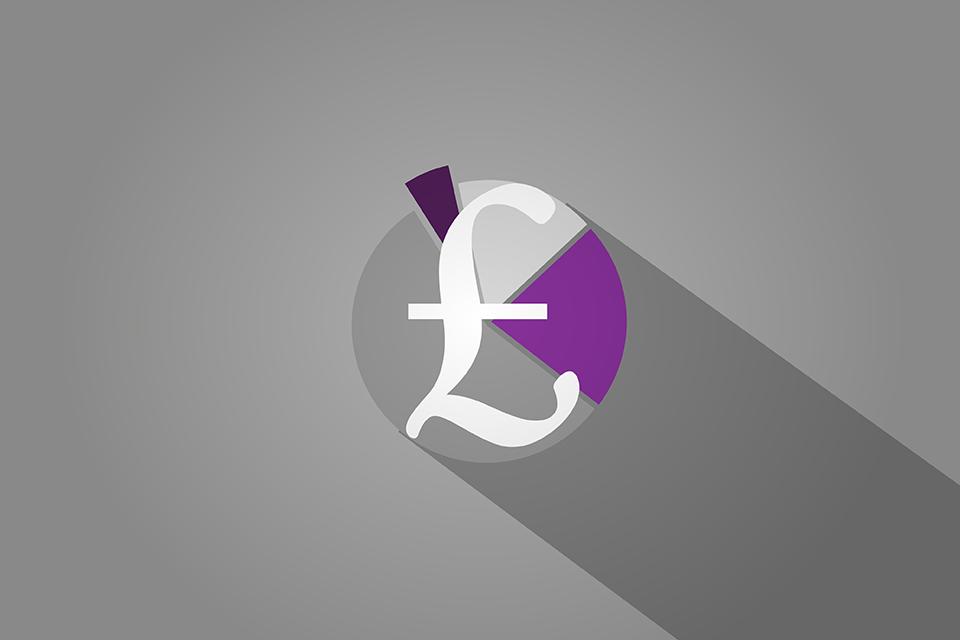 £ symbol over pie chart