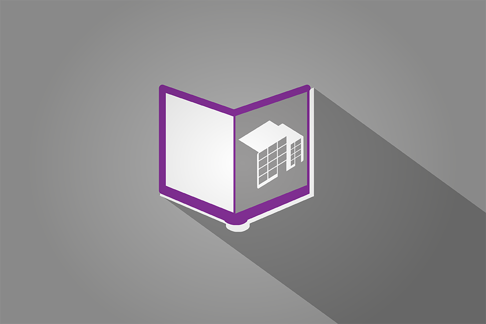 Open book with building on page