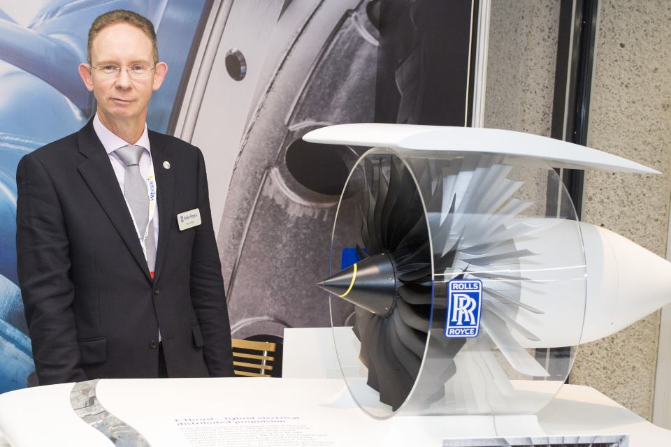 Paul Miller, of Rolls-Royce, with a model of a new aero-engine concept