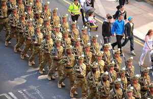 Soldiers marching through Glasgow