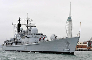 HMS Gloucester sails past the Spinnaker Tower, leaving Portsmouth for a seven-month deployment to the South Atlantic