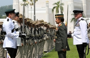 His Majesty the Sultan inspecting the Brigade of Gurkhas contingent