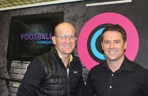 WallJAM managing director Tim Worboys with former England striker Michael Owen in front of the WallJAM wall in the BT Sport Football Tonight studio.