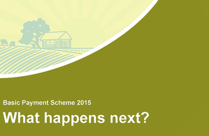 Image of rural scene with text saying ' Basic Payment Scheme 2015 What happens next?'