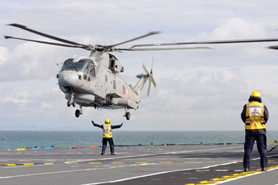 820 Naval Air Squadron's Merlin helicopters arrive onboard HMS Illustrious