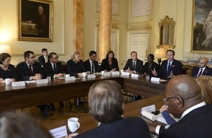 David Cameron chairs a roundtable at 10 Downing Street