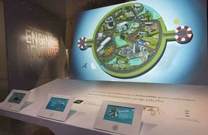 Photograph of the Futureville 3-D city-scape installation at The Science Museum