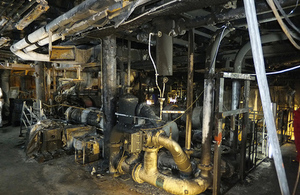 Fire damage in engine room of Pride of Canterbury