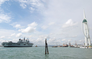 HMS Illustrious returns to Portsmouth Naval Base