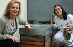 Secretary of State Elizabeth Truss with a beekeeping apprentice.