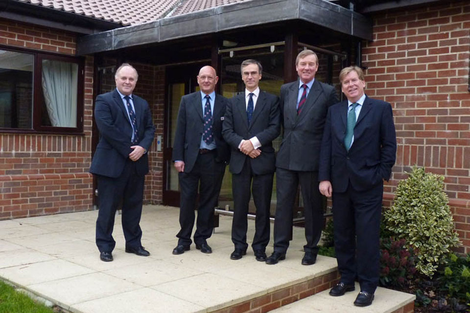 From left: Malcolm Bellwood, Combat Stress Operations Manager South, Robert Bieber, Combat Stress Trustee, Dr Andrew Murrison, Andrew Robathan and Simon Burns