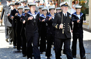 Local Sea Cadets join military personnel from RNAS Yeovilton on the march through the streets of Yeovil to exercise their Freedom of the Borough