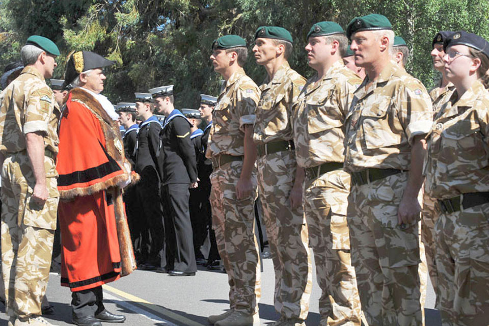 The Mayor of Yeovil, Councillor Philip Chandler, and the Commanding Officer of RNAS Yeovilton, Brigadier Mark Noble, Royal Marines, inspect the Guard
