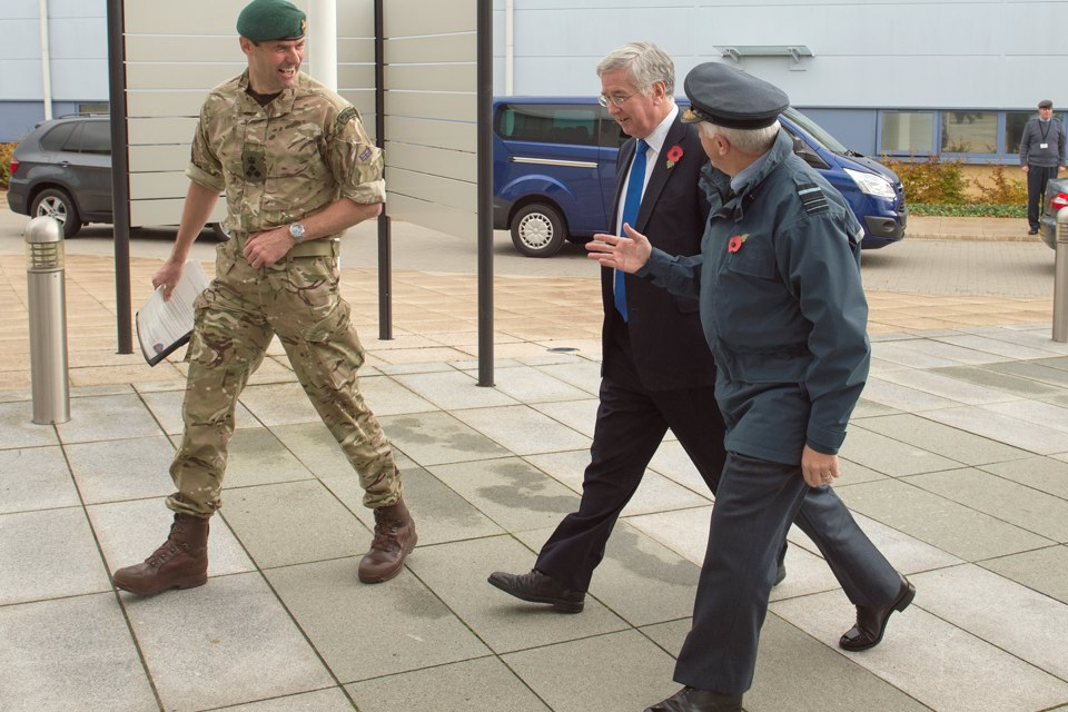 Defence Secretary Michael  Fallon arrives at RAF Wyton