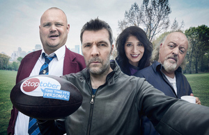 Stoptober 2015 campaign image featuring Al Murray, Rhod Gilbert, Shappi Khorsandi and Bill Bailey.