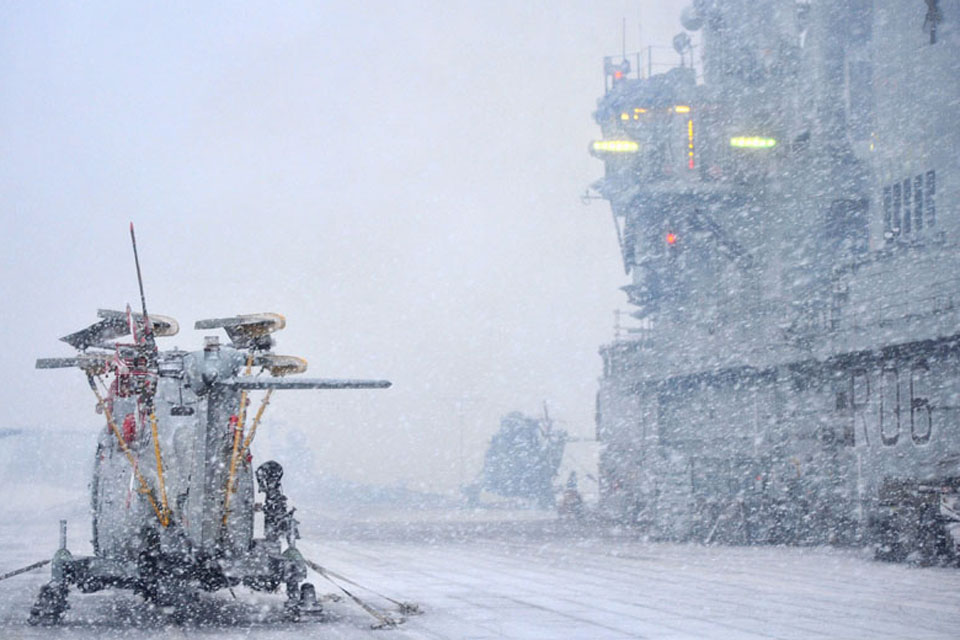 Aircraft secured on board HMS Illustrious until the weather improves during Exercise Cold Response