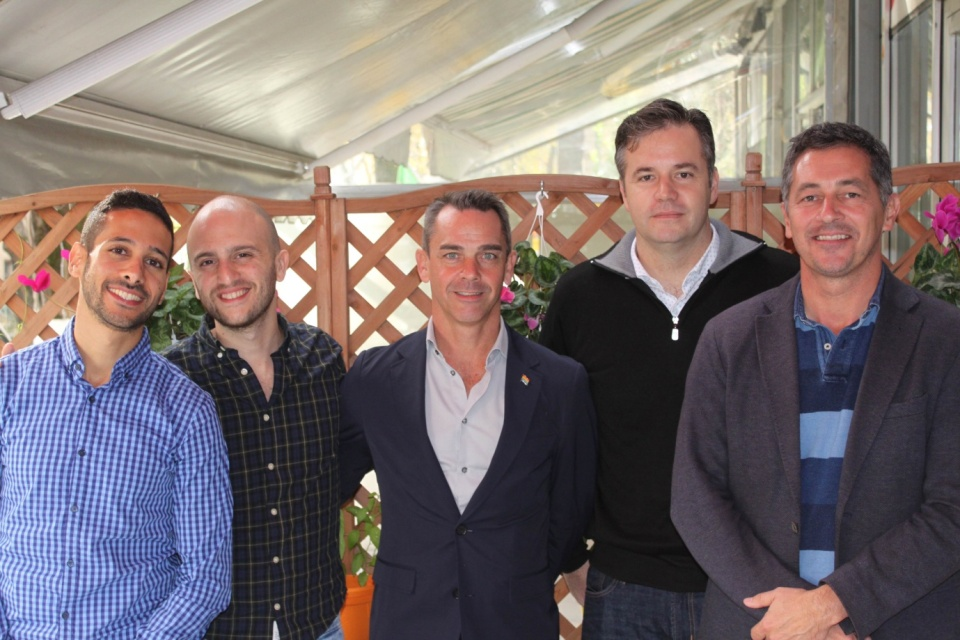 Colleagues from the Israeli embassy Tsach Saar and Guy Arad, Mike Kane, centre, and Special Envoy Randy Berry, far right, with Geoff Parker of the US Embassy Tirana