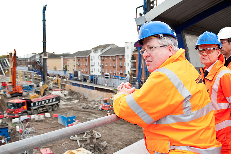 Patrick McLoughlin sees construction progress in south east London.