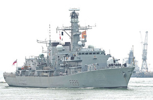 HMS Lancaster leaves Portsmouth, flying the flag of the Duchy of Lancaster, following an extensive refit
