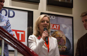 Henry Parr, Elizabeth Truss and Sam Bompas at the Food Pioneers event