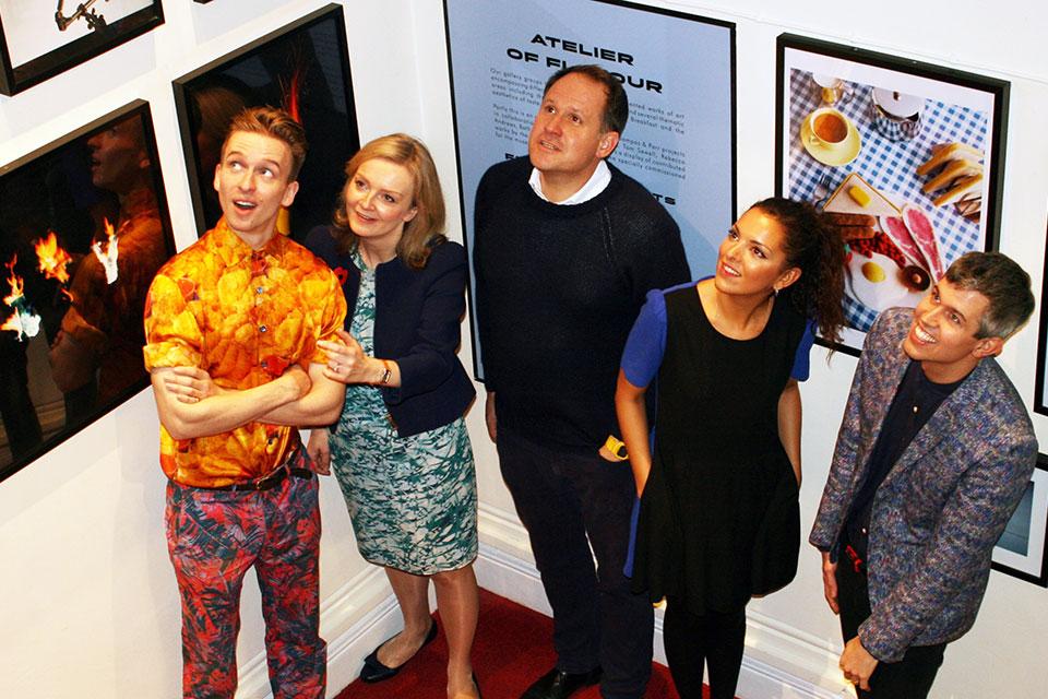 Image shows left to right, Sam Bompas, Elizabeth Truss, Henry Dimbleby (co-founder of Leon), Cassandra Stavrou (founder of Propercorn), Henry Parr