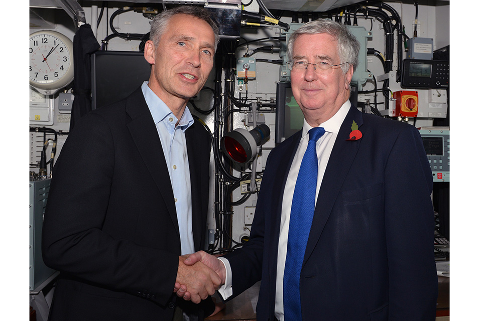 Mr Jens Stoltenberg, Secretary General of NATO & Michael Fallon MP, Secretary of State for Defence.