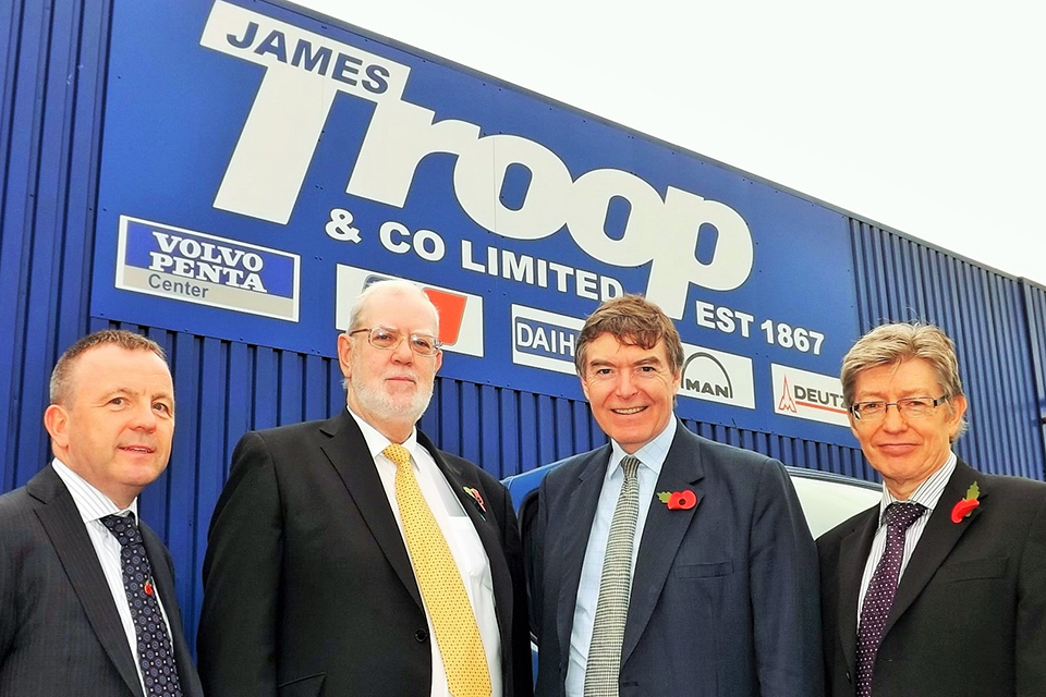 Robert Pollock, Bob Troop, Defence Minister Philip Dunne and Derek Bate.