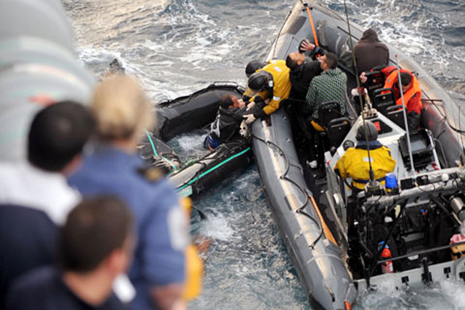 The five rescued people were taken to HMS Cornwall to receive medical assistance