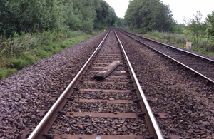 Image showing one of the wooden sleepers found on the railway afterwards (image courtesy of Network Rail)