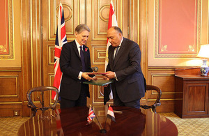 Foreign Secretary Philip Hammond and Egyptian Foreign Minister Sameh Shoukry