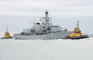 Royal Navy frigate HMS Kent returns to Portsmouth following a £24m upgrade in Scotland