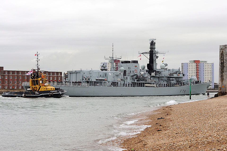 HMS Kent sails into Portsmouth Harbour
