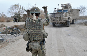 A Mastiff negotiates a tight turn in Nad 'Ali