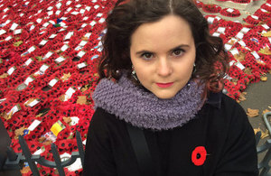 Caitlin Vanstone at the Remembrance Sunday service in London.