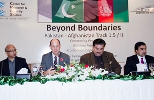 Philip Barton CMG OBE, the British High Commissioner to Pakistan addressing delegates from Pakistan and Afghanistan as part of the inaugural session of the Beyond Boundaries initiative under Track 1.5 dialogue
