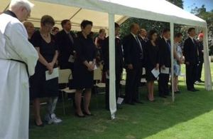 The service was presided over by Rev. Roderick Campbell, Minister of St Andrew's Scots Kirk and attended by a wide representation from the Diplomatic Corps
