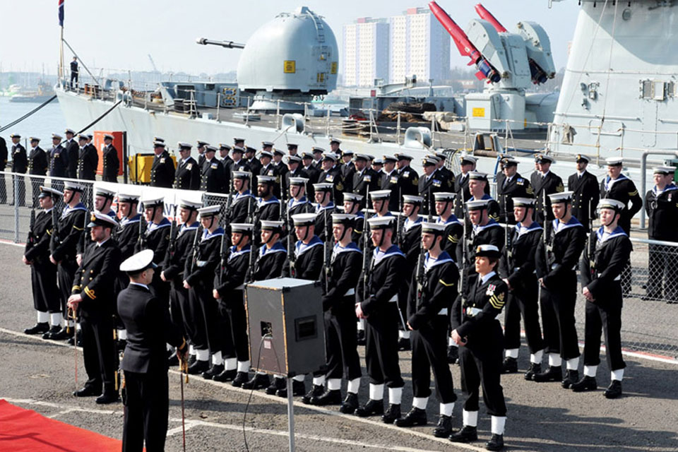HMS Liverpool decommissioning ceremony at the South Railway Jetty, Portsmouth Naval Base