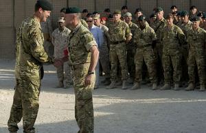 Brigadier Patrick Sanders greets Brigadier Ed Davis