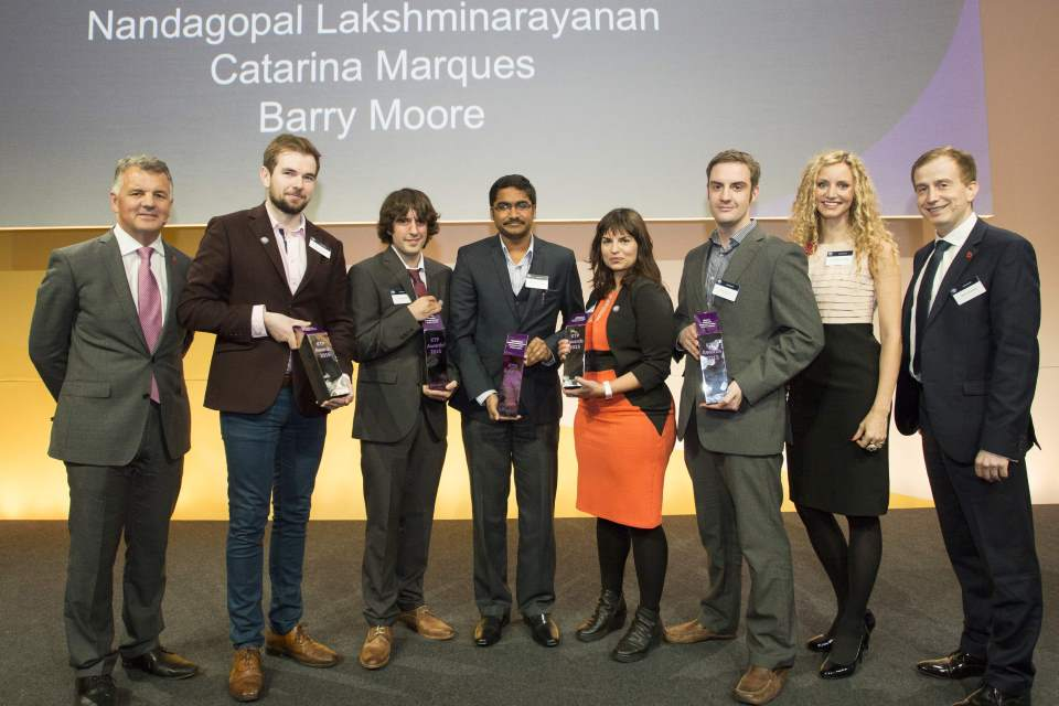 Winners of the KTP Business Leaders of Tomorrow awards on stage at Innovate 2015