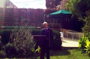 British Ambassador Edward Oakden during the Remembrance Day in Amman