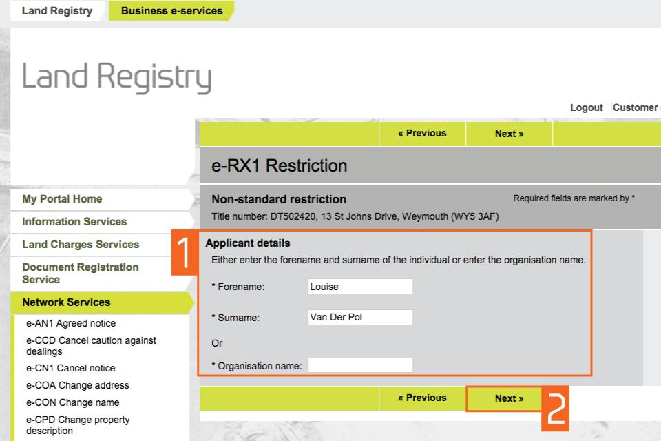 Enter applicant details
