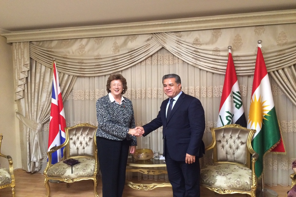 The Baroness with HE Falah Mustafa, Foreign Minister for Kurdistan, discussing what can be done to provide safety and security for women in KRG.